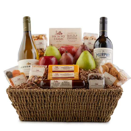 Holiday Celebration Gift Basket includes summer sausage, cheese, mixed nuts, and dried fruit