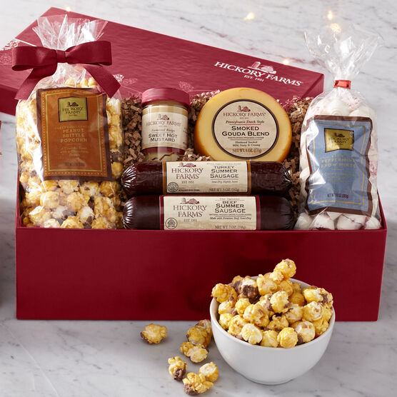 Hickory Farms Holiday Treasure Chest includes summer sausage, cheese, mints, popcorn, and mustard