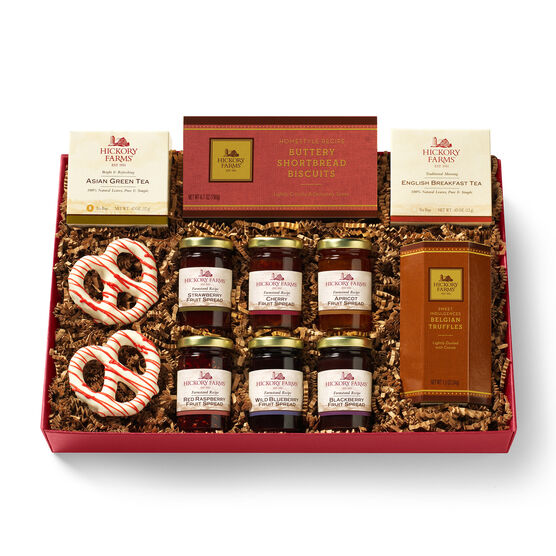 Tea Time Collection Gift Box includes various fruit spreads and tea