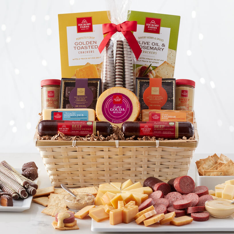 This meat and cheese gift basket is filled with our well-loved Signature Beef Summer Sausage, cheese, mustard, crackers, and our favorite decadent sweets.