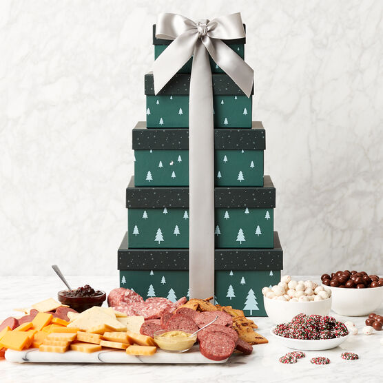 Grand Winter Wishes Gift Tower Stacked with White Ribbon