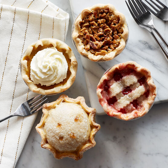 With petite pies in four classic flavors--pumpkin, pecan, apple, and cherry--this collection has something for everyone!