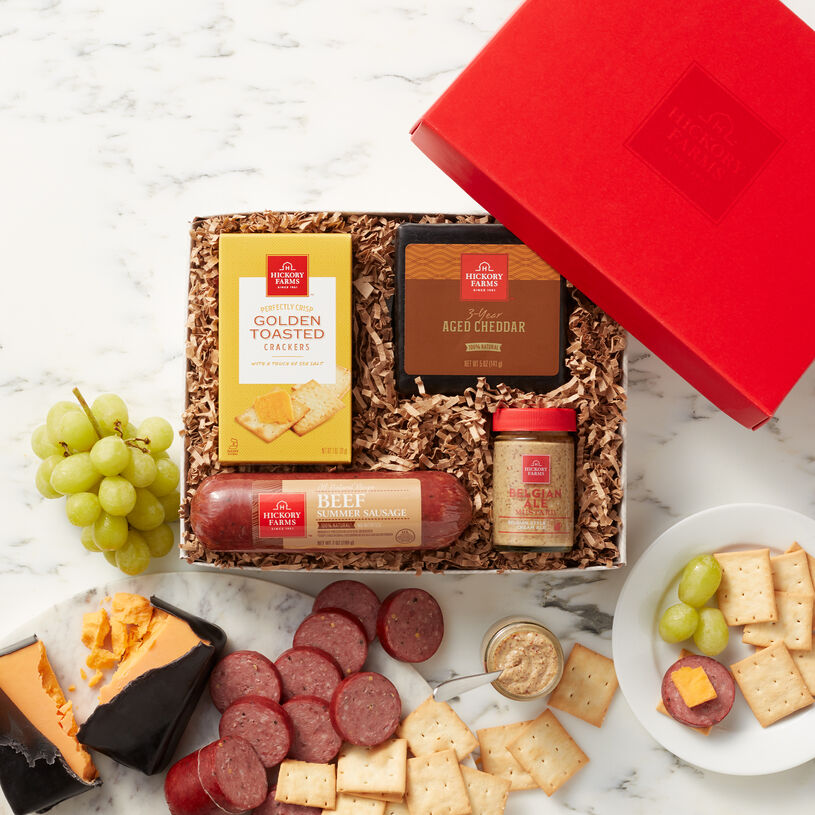 This hearty gift contains 100% Natural Beef Sausage with no added hormones or nitrites, naturally aged cheddar cheese, Brown Mustard, and Crackers.