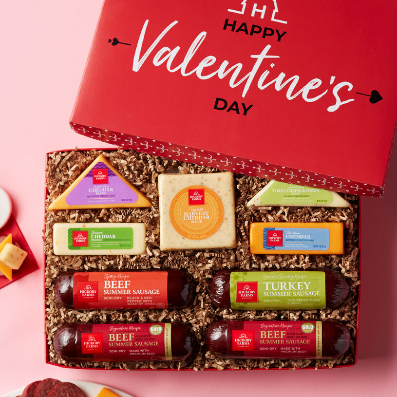 This deluxe Valentine's Day assortment features three different types of summer sausage and five different cheeses for a wide variety of flavor.
