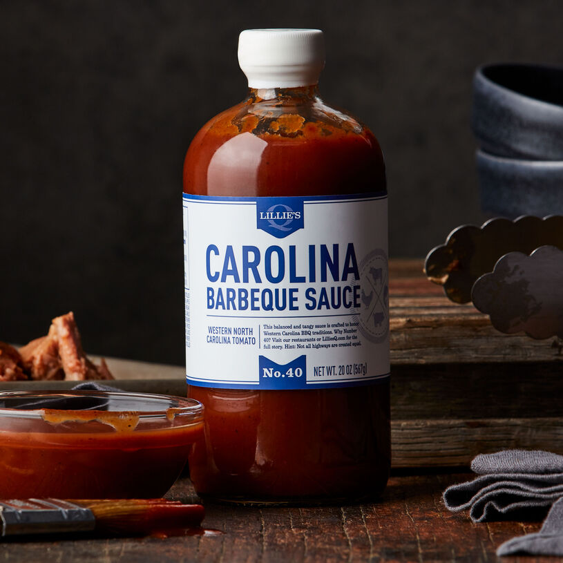 This tangy barbeque sauce from masters Lillie's Q is crafted in the Western Carolina style.