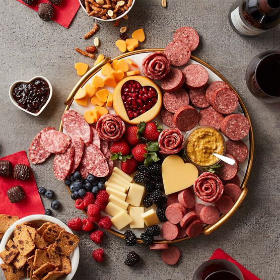 Premium Charcuterie & Chocolate Gift Box with Wine - Charcuterie Spread