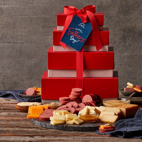 Father's Day Gourmet Meat & Cheese Tower Alt 2 - Closed gift tower