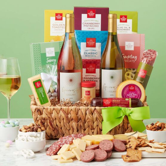Spring Deluxe Sip and Snack Gift Basket Green Backdrop