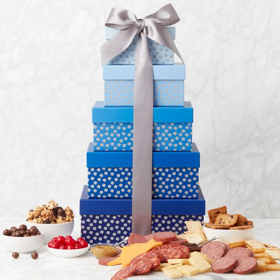 Brilliant Blue Gift Tower Charcuterie Spread