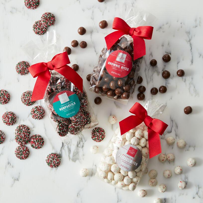 Itty Bitty Brownie Bites, Christmas Nonpareils, and Peppermint Pretzel Bites