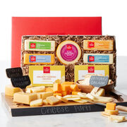 Cheese Party set includes a variety of cheeses and an acacia wood serving set kit