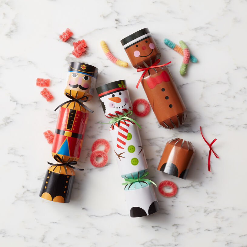This set of three holiday poppers is filled with sour gummies.