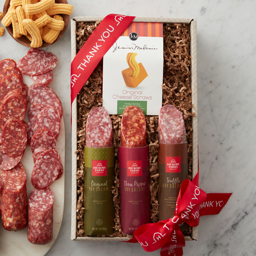 This flight includes a sampling of all three flavors: Original Dry Salami, Truffle Dry Salami, and Three Pepper Dry Salami, made with spicy white pepper, cayenne, and crushed red pepper.