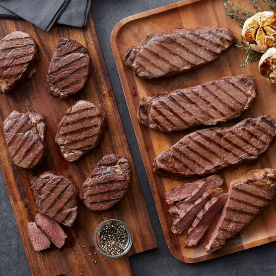 The Elite Selection includes 6 filets and 4 New York strip steaks