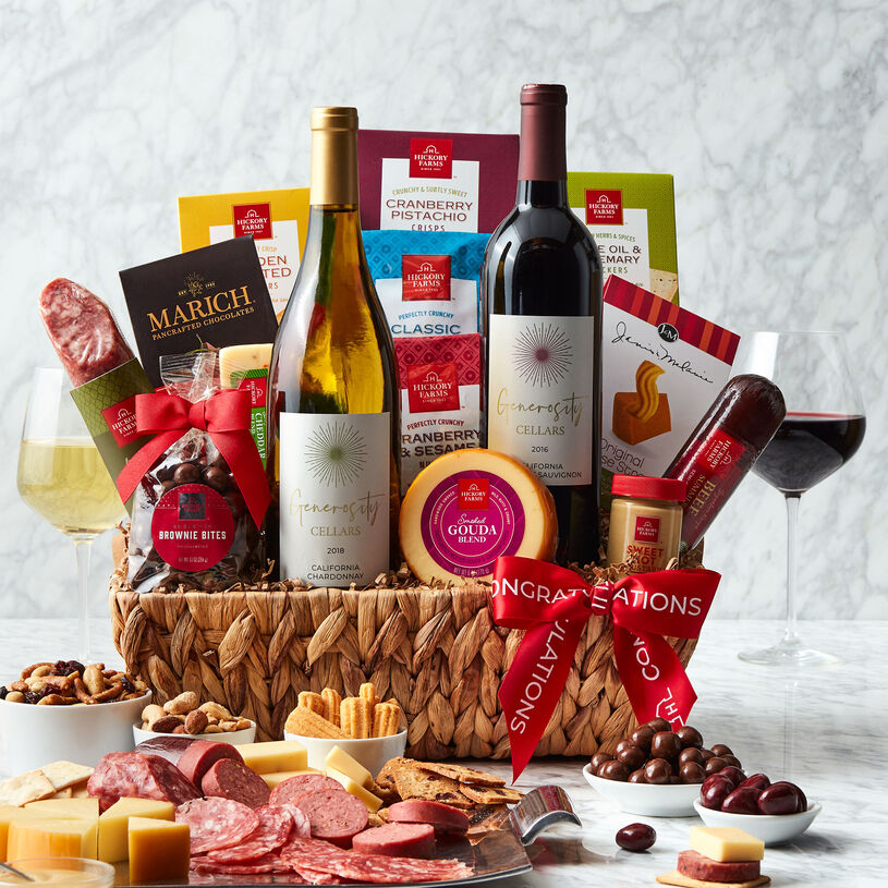This generous congratulations gift basket is overflowing with sweet and savory flavors to create plenty of delicious bites.