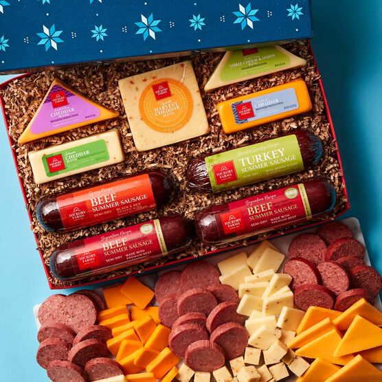 Be Merry Cheese & Sausage Lover's Gift Box Charcuterie and Box Contents