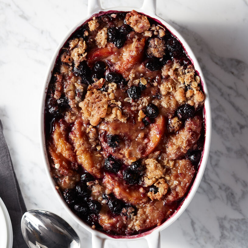 This delicious Blueberry Peach Crisp is made with sweet, plump blueberries, ripe peaches, and a crunchy, crispy topping.