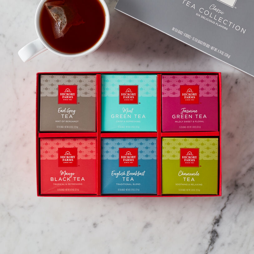 This special tea gift features bright and cheery boxes filled with six delicious varieties: Earl Grey, Mint Green Tea, Jasmine Green Tea, Mango Black Tea, English Breakfast, and Chamomile.