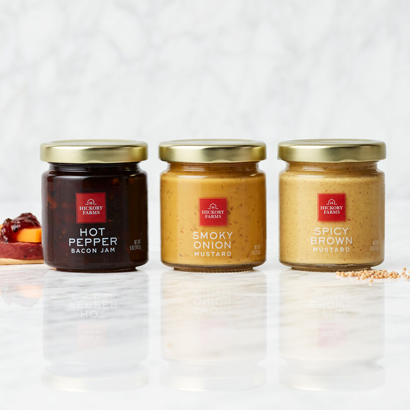 Tangy Smoky Onion Mustard, zesty Hot Pepper Bacon Jam, and a classic Spicy Brown Mustard.