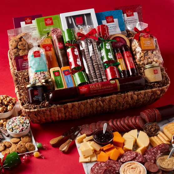 Ultimate Charcuterie Experience Gift Basket Holiday Setting