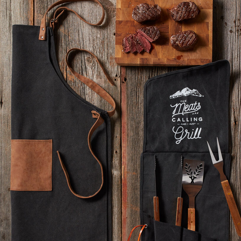 This includes four of our tender, delicious 6 oz Filets for a restaurant-quality meal right at home. Apron with adjustable straps keeps him looking good, while heavy-duty stainless steel tools let him grill up the perfect filet with ease.