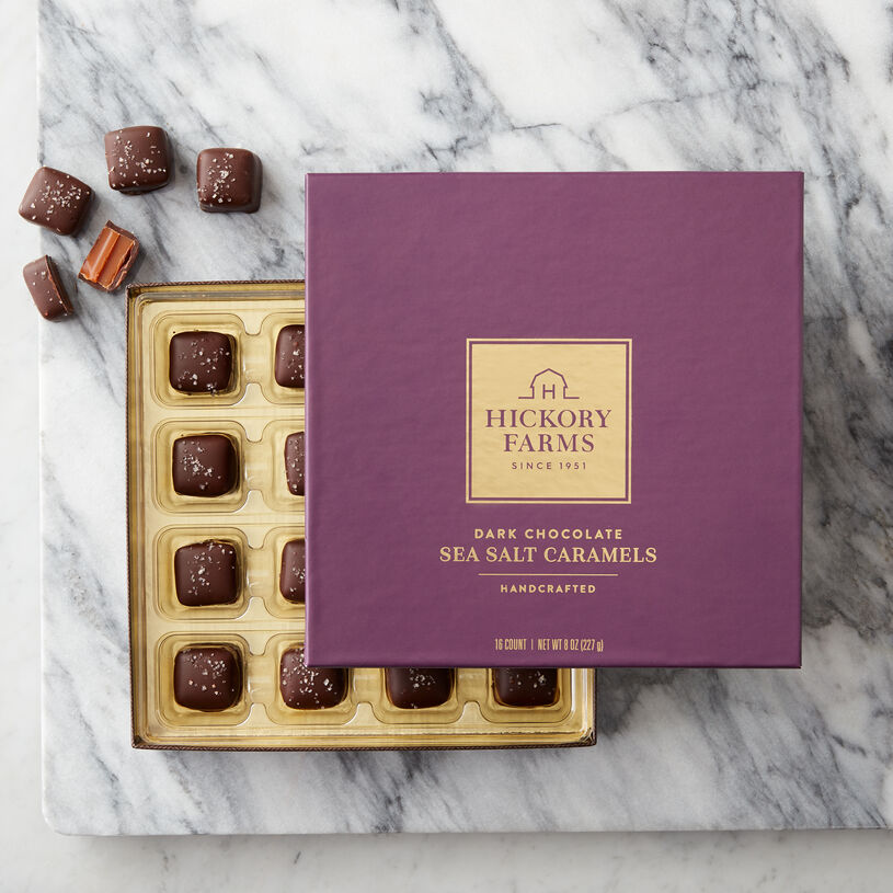 Hickory Farms Dark Chocolate Sea Salt Caramels Box of Chocolates