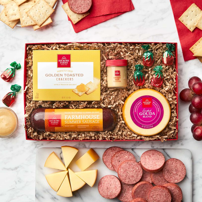 Hearty Holiday Favorites Gift Box, Sausage, Cheese, mustard , crackers