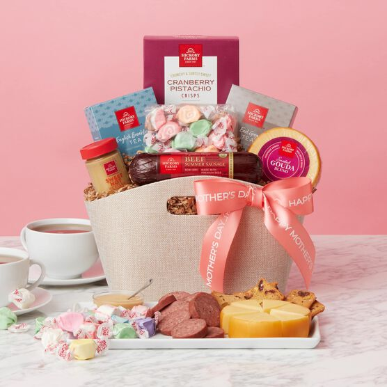 Mother's Day Tea Party Gift Basket Pink Backdrop