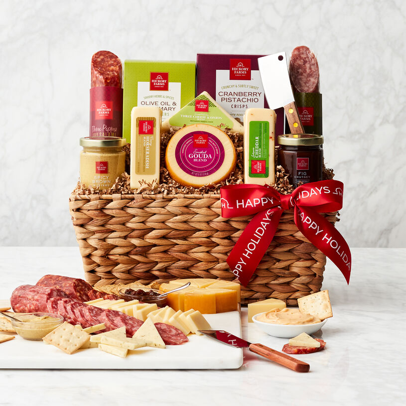 Happy Holidays Gourmet Salami & Cheese Gift Basket