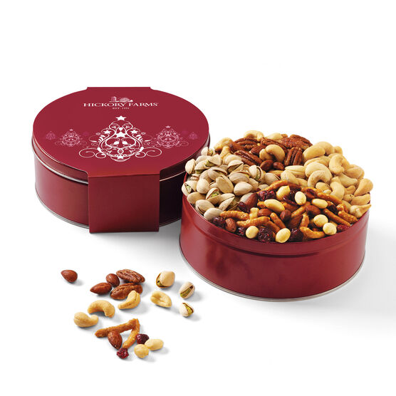 Holiday snack mix of mixed nuts, cashews, sesame nut mix, and pistachios