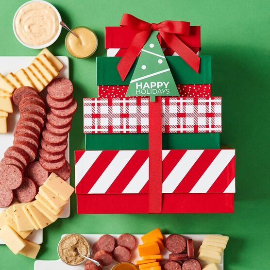 Happy Holidays Gourmet Meat & Cheese Gift Tower Box Contents