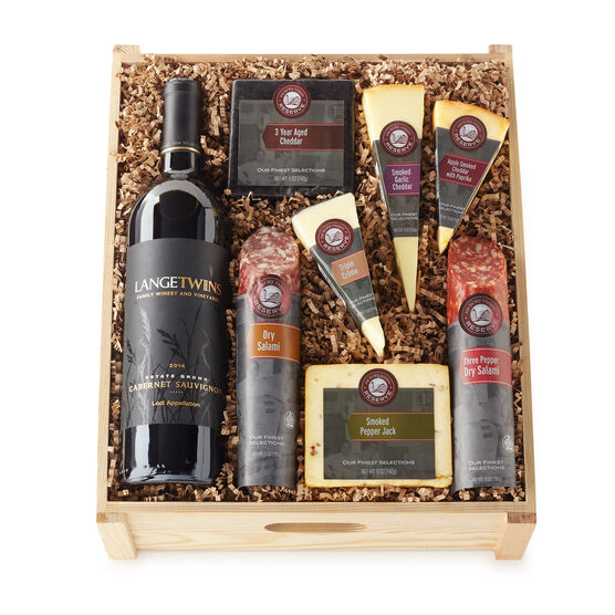 Gift Crate includes dry salami, cheese, and red wine