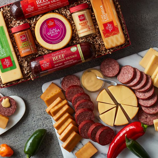 Hot Stuff Summer Sausage & Cheese Gift Box - Charcuterie Spread