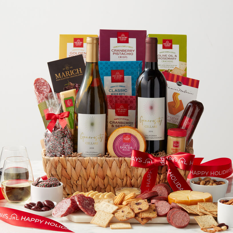 Send holiday cheer with this generous gift basket! It's overflowing with sweet and savory flavors to create plenty of delicious bites.