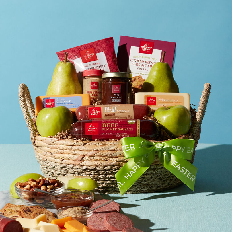 This Easter gift basket features our Signature Beef and All-Natural Beef Summer Sausages, cheese, mustard, Fig Chutney, crackers, apples, and pears.