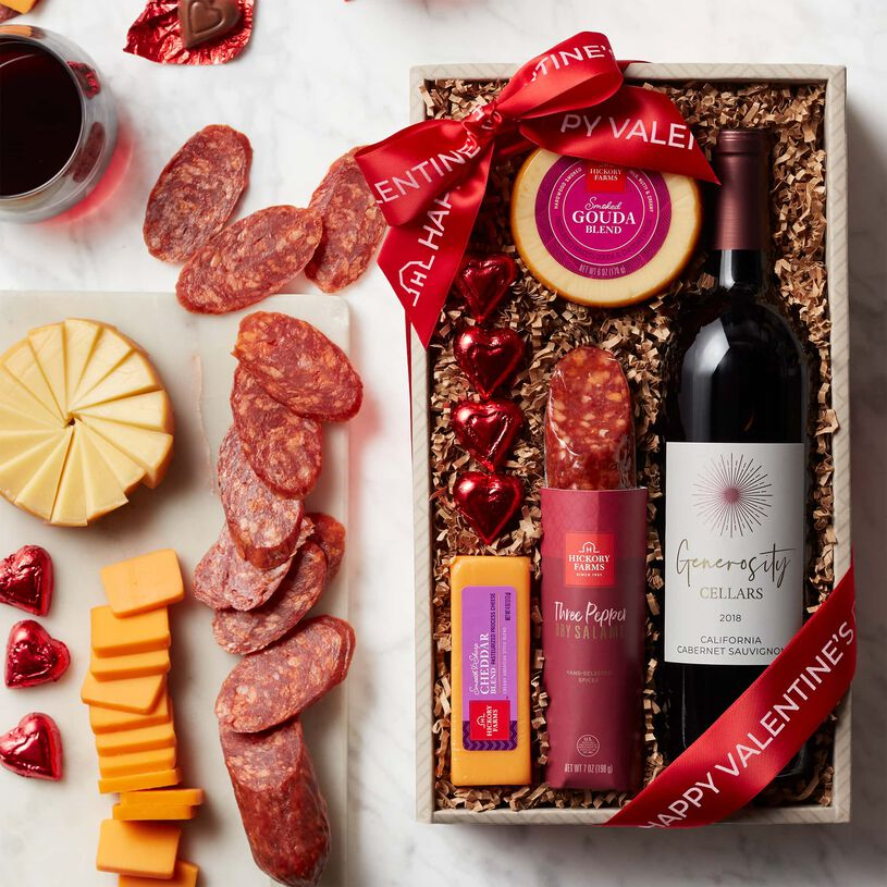 Valentine's Day Wine & Savory Snack Collection - Box Contents