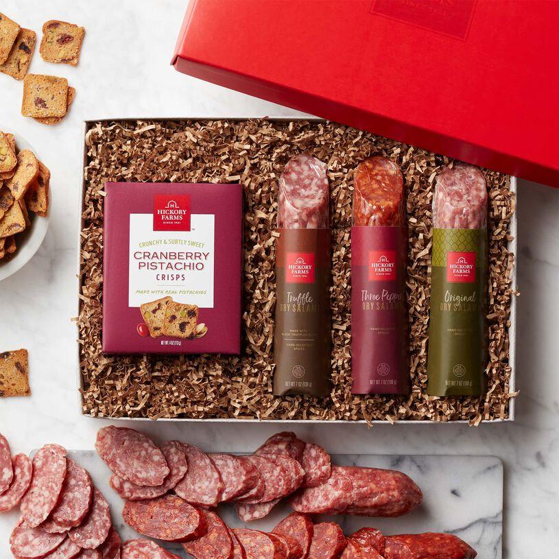 Artisanal Salami Flight Gift Box - Salami and Crackers