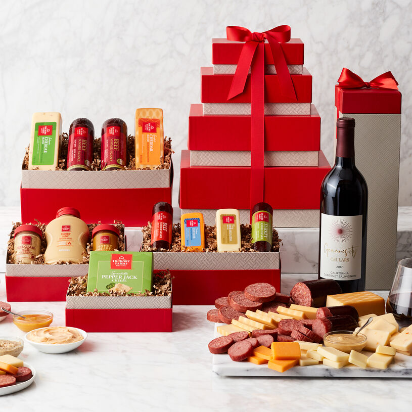 Gourmet Meat & Cheese Gift Tower with Wine