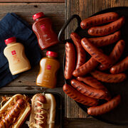 No Father's Day celebration would be complete without the backyard BBQ celebrity: the bratwurst. We've paired ours with three of our famous mustards for a grilling gift that's filled with bold, tangy flavor.