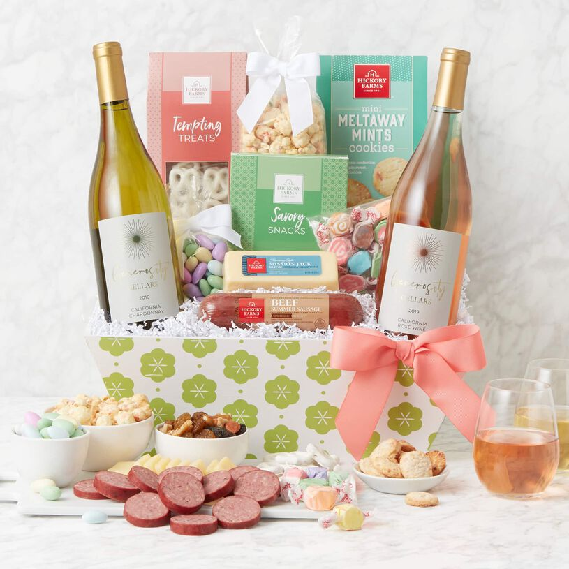Spring Premium Treats and Wine Gift Basket