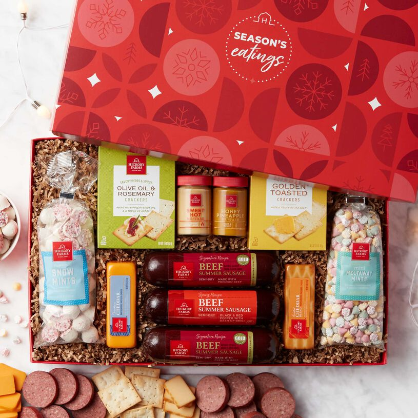 A great selection of Summer Sausage, cheddar cheeses, Sweet Hot and Honey & Pineapple Mustard, crackers, Mini Meltaway Mints, and Peppermint Snow Mints.