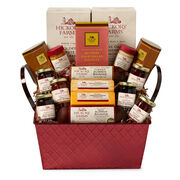 Savory & Sweet Gift Basket includes sausage, cheese, fruit spreads, mustard, and crackers