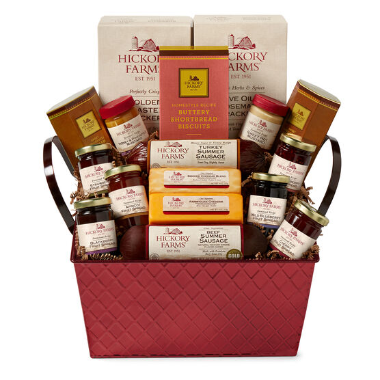 Savory & Sweet Gift Basket includes sausage, cheese, fruit spreads, mustard, and