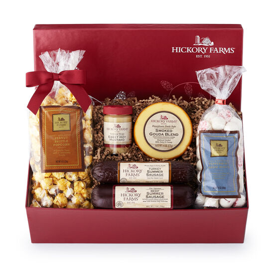 Holiday Treasure Chest includes summer sausage, cheese, mints, popcorn, and mustard