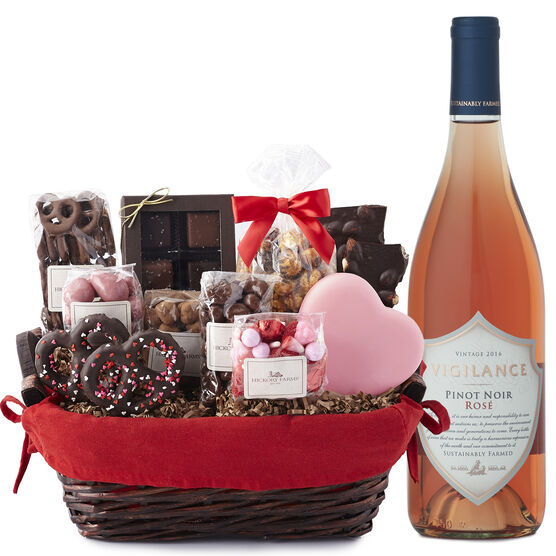 Valentine's Day Sweets & Rose Gift Basket