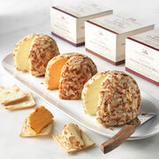 cheese ball flight includes original, swiss, and sharp cheddar cheese balls