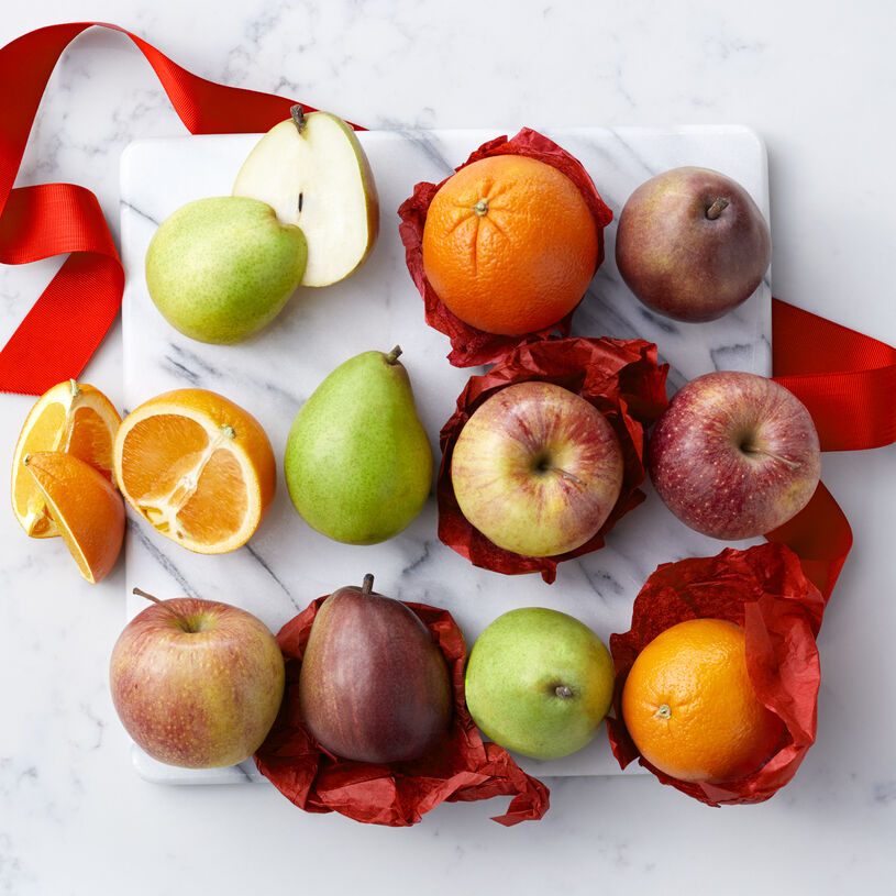 Fresh Fruit Assortment includes oranges, pears, and apples