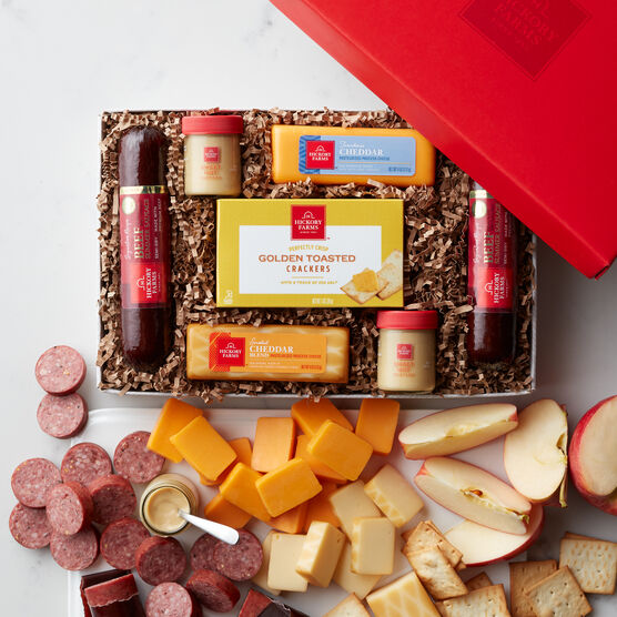 Hearty Beef gift box includes crackers, mustard, summer sausage, and cheeses