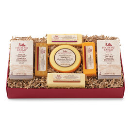 Festive Cheese Sampler Gift Box includes crackers and various cheeses