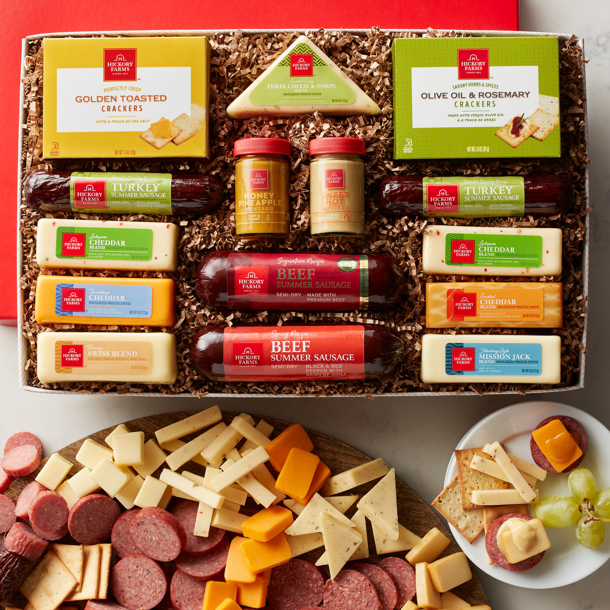 The Hearty Party gift box includes beef summer sausage turkey summer sausage mustard & Meat and Cheese Gift Baskets | Hickory Farms